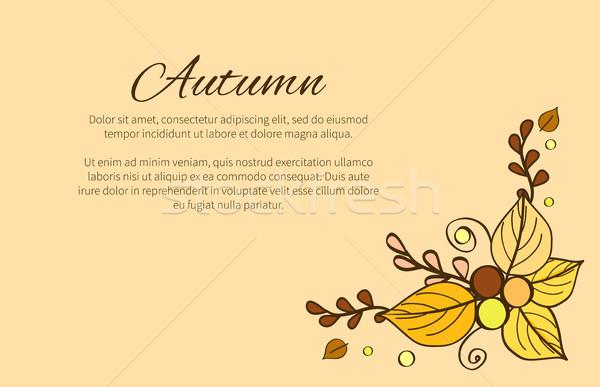 Saison d'automne carte de vœux décoré bouquet laisse perles Photo stock © robuart