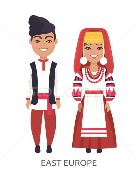 Európa jelmezek fehér nő visel piros Stock fotó © robuart