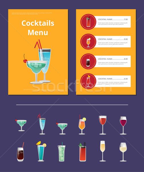 Foto stock: Coquetel · menu · anúncio · cartaz · martini