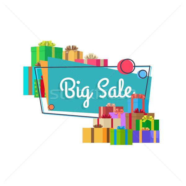 Big Sale Inscription in Square Bubble and Presents Stock photo © robuart