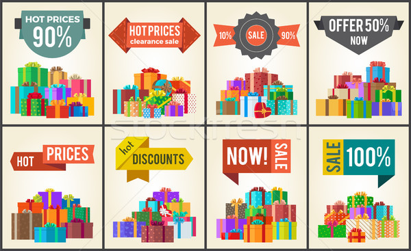 Promo Labels Sale Discounts Hot Prices Percent Off Stock photo © robuart