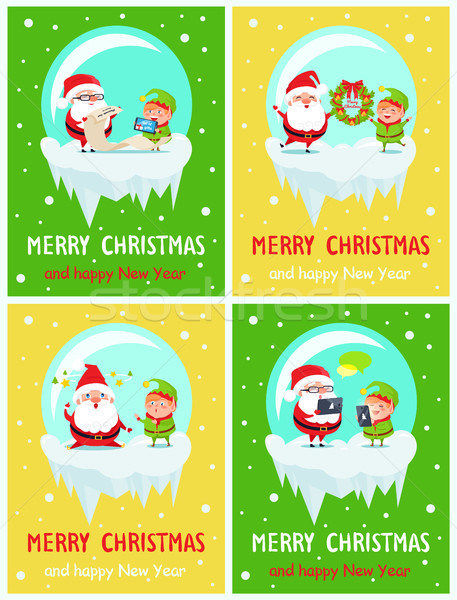 Merry Christmas and Happy New Year Greeting Cards Stock photo © robuart