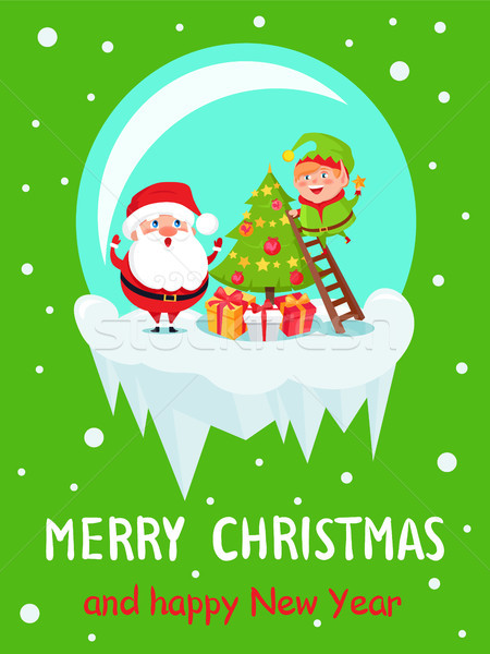 Vrolijk christmas gelukkig nieuwjaar poster elf Stockfoto © robuart