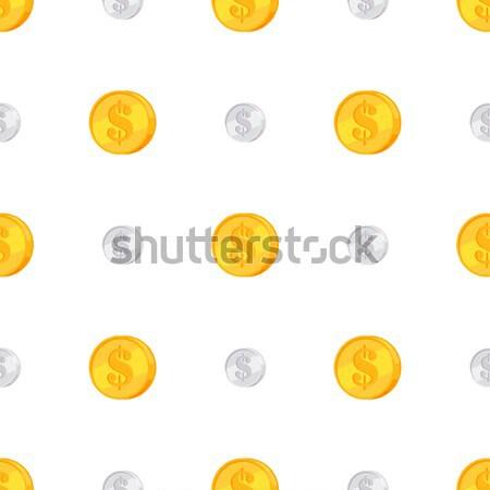 Dorado plata monedas signo de dólar aislado blanco Foto stock © robuart
