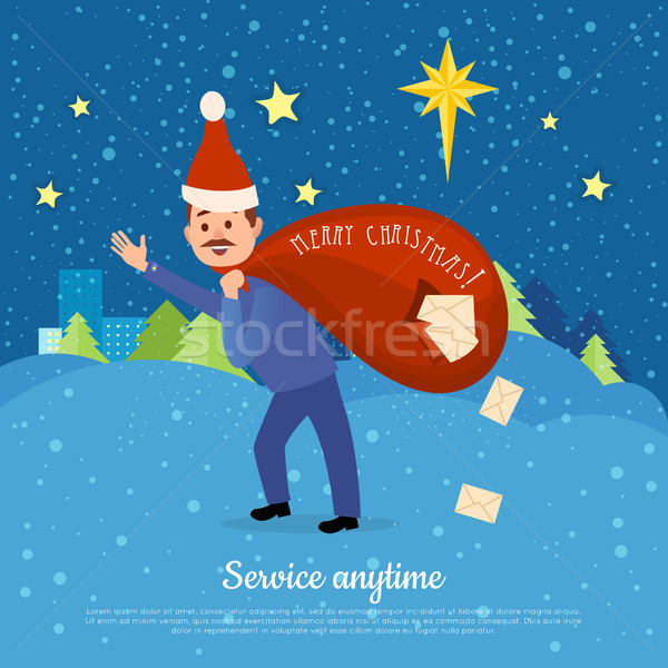 Postman in Christmas Hat Hurry to Deliver Letters. Stock photo © robuart