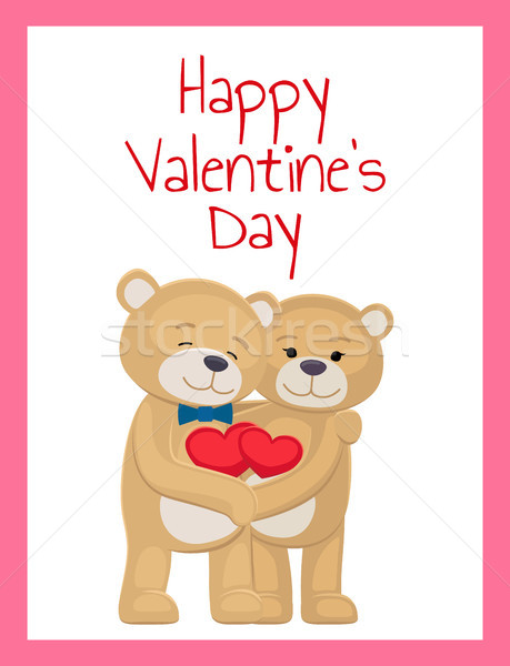 Happy Valentines Day Poster Bear Lovers Hold Heart Stock photo © robuart