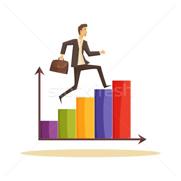 Időbeosztás üzletember poszter fut felső grafikus Stock fotó © robuart
