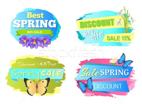 Best Spring Sale Label Crocus Flowers, Discounts Stock photo © robuart