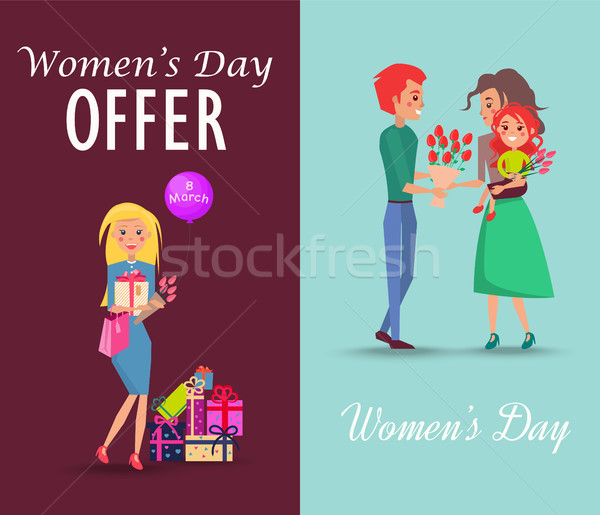 Set of Offers and Congratulations on Womens Day Stock photo © robuart