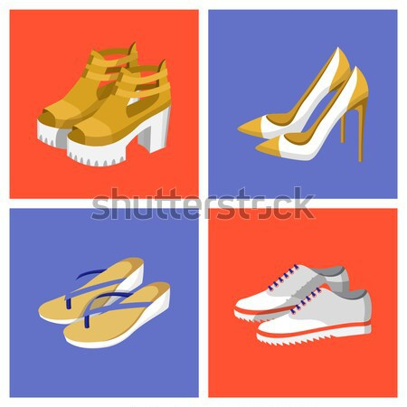 Color Banner with Beautiful Pair of Yellow Shoes Stock photo © robuart