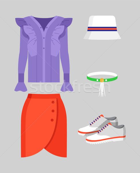 Set of Stylish Clothing for Warm Weather Poster Stock photo © robuart