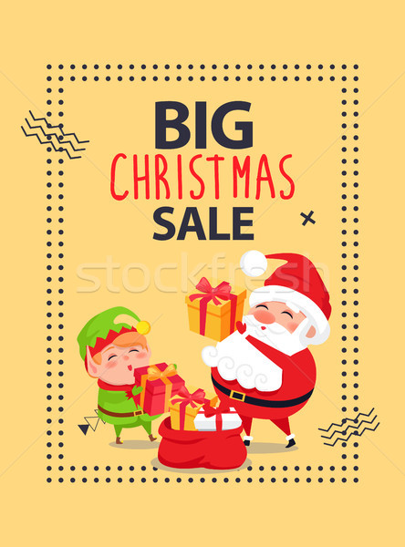Big Christmas Sale Poster with Santa Claus and Elf Stock photo © robuart