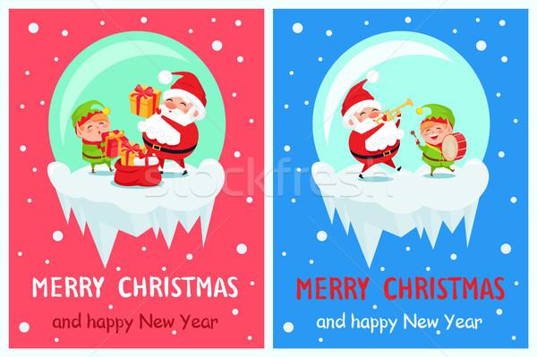 Vidám karácsony boldog új évet poszter mikulás manó Stock fotó © robuart