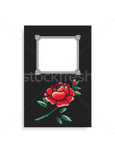 Photoalbum Cover Design Hand Drawn Red Rose Vector Stock photo © robuart