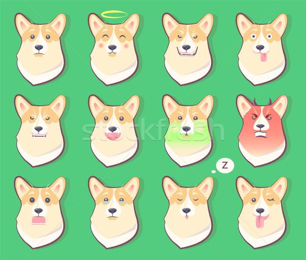 Ingesteld honden emoties cute puppy symbool Stockfoto © robuart