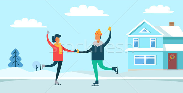 Couple Ice-skating in Winter Vector Illustration Stock photo © robuart