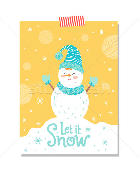Let it Snow Postcard with Smiling Snowman Postcard Stock photo © robuart