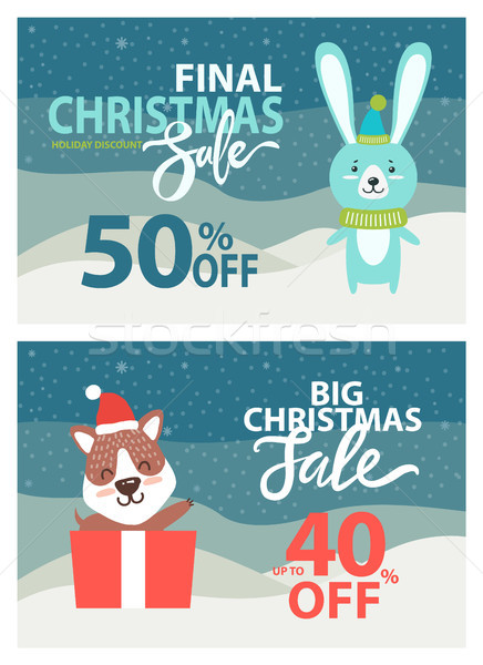Final Christmas Sale Placards Vector Illustration Stock photo © robuart