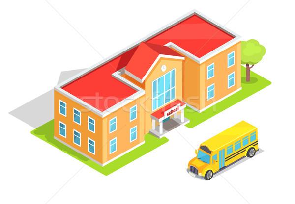 学校 オレンジ 黄色 バス 光 ストックフォト © robuart
