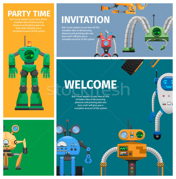 Invitation to Unusual Robot Party Illustration Stock photo © robuart