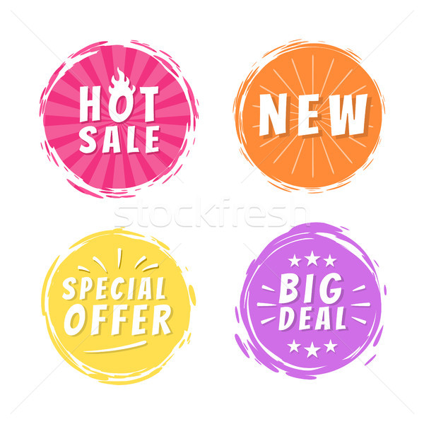 Hot Sale New Big Deal Special Offer Promo Stickers Stock photo © robuart