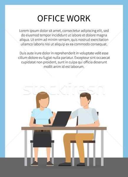 Kantoorwerk kleurrijk poster twee vergadering tabel Stockfoto © robuart