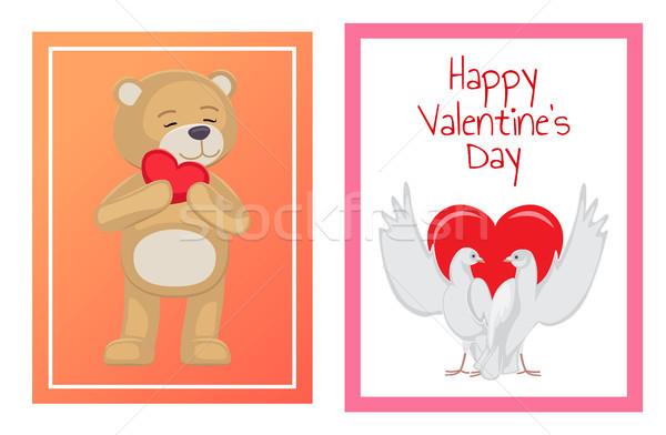 Blanco parejas corazón ilustraciones establecer Foto stock © robuart