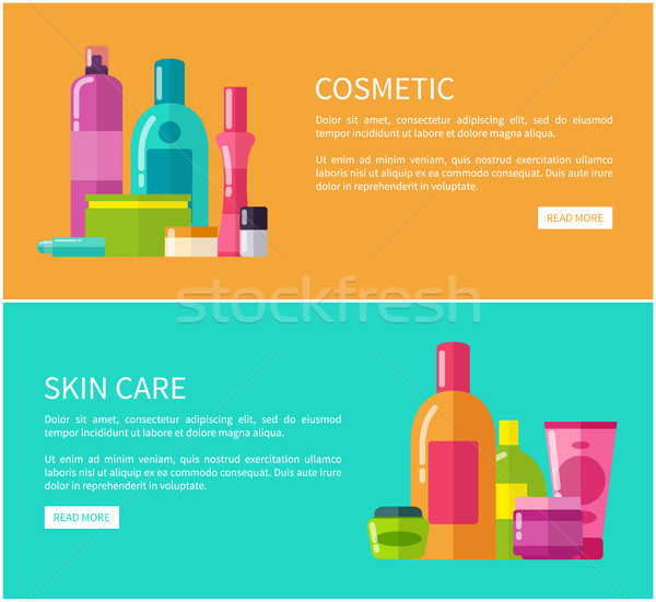 Two Cosmetic Skin Care Cards Vector Illustration Stock photo © robuart