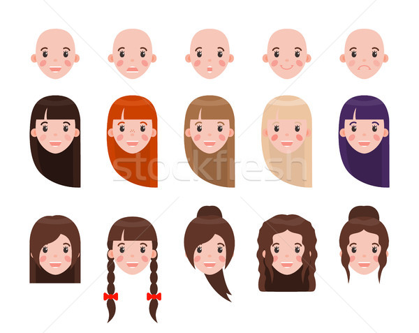 Girl Head with Hairstyles and Emotional Faces Set Stock photo © robuart