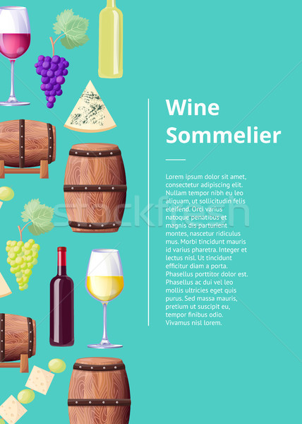 Wine Sommelier Info Poster with Wooden Barrels Stock photo © robuart
