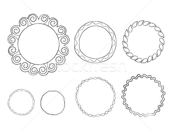Firka vonal művészet keret vektor szett Stock fotó © robuart