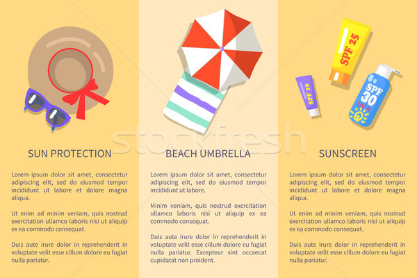 Summer Attributes Collection with Texts Poster Stock photo © robuart