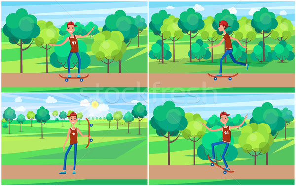 Cheerful Skater in Green Summer Park, Color Banner Stock photo © robuart