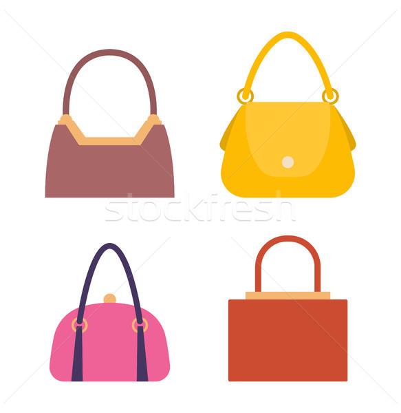 Leder Taschen Set Sammlung Frauen stylish Stock foto © robuart