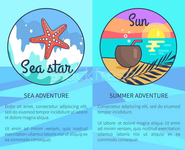 Set of Sea and Summer Adventure Posters Stock photo © robuart