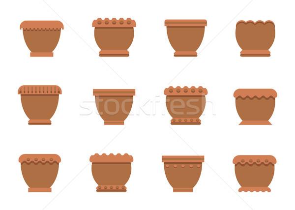Flower Pots of Brown Color Set Vector Illustration Stock photo © robuart