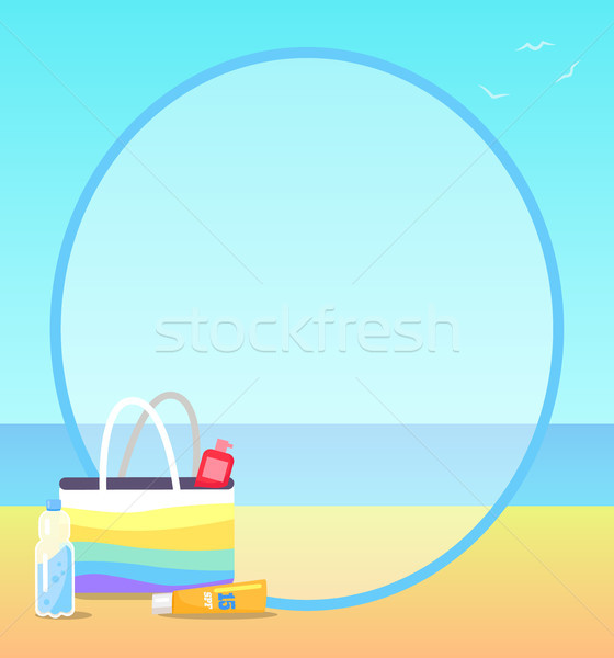 Poster Depicting Beach and some Objects on Sand Stock photo © robuart
