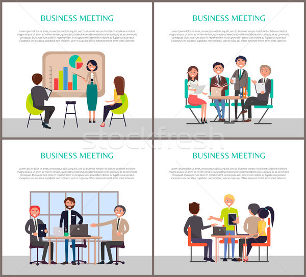 Business Meeting Banners with Worker around Table Stock photo © robuart