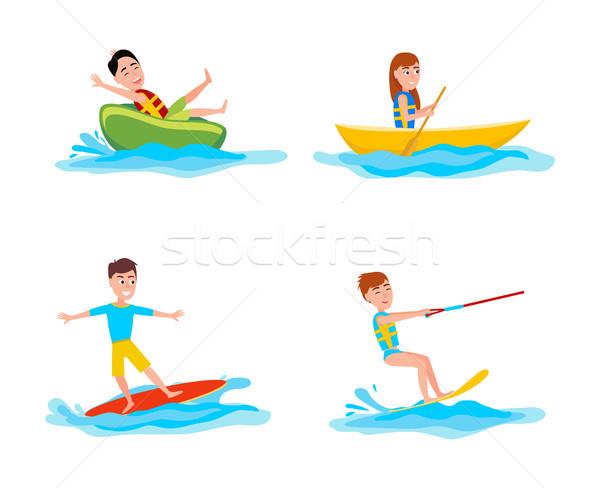 Zomer collectie sport activiteiten spelevaren surfen Stockfoto © robuart