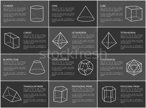 Mértani formák szöveg minta henger kúp Stock fotó © robuart