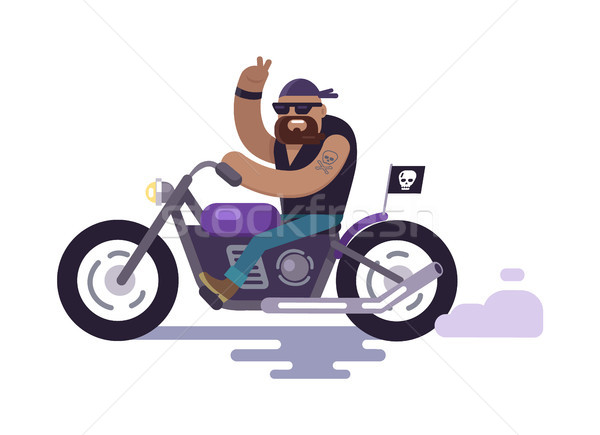 Biker on Bike Shows Peace Gesture, Modern Cyclist Stock photo © robuart
