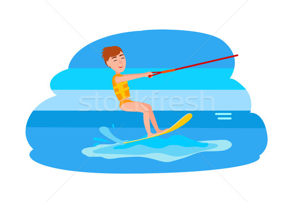 Kitesurfing and Happy Boy Vector Illustration Stock photo © robuart