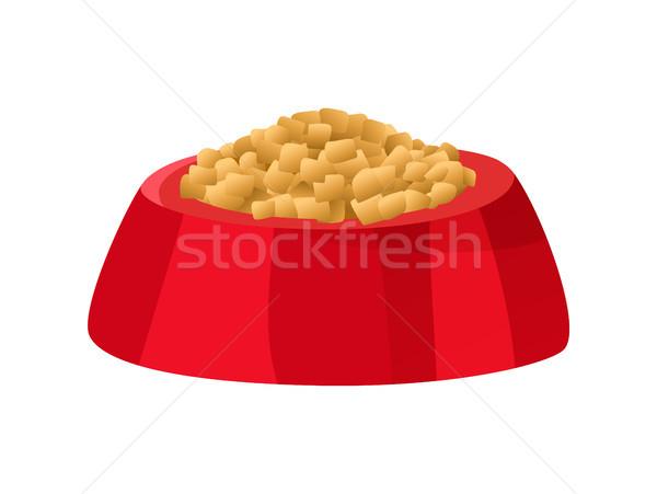 Tazón rojo color alimentos gato Foto stock © robuart