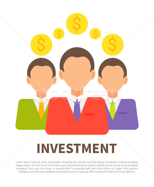 Investment Poster with Businessmen and Coins Icons Stock photo © robuart