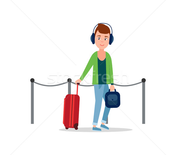 Teenager in Airport Baggage Vector Illustration Stock photo © robuart