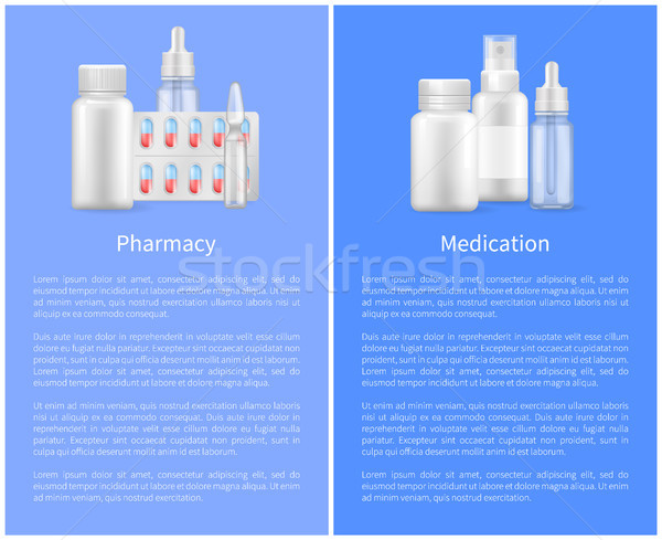 Pharmacy Poster with Containers for Medical Pills Stock photo © robuart
