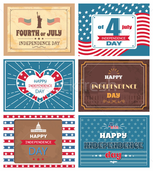 Set Posters 4 July Independence Day Holiday of USA Stock photo © robuart