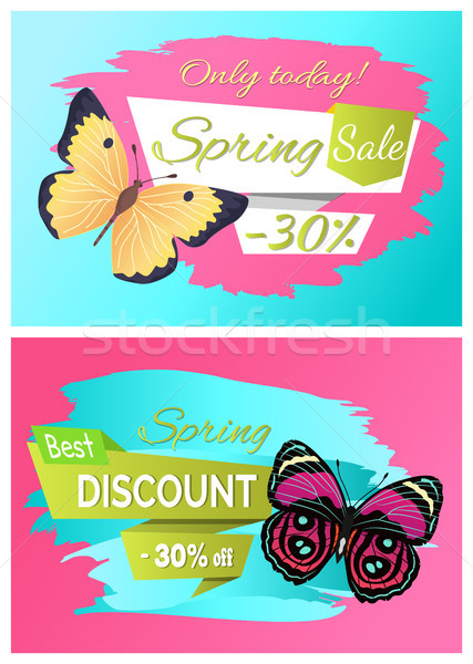 Best Spring Discount 30 Off Labels Set Butterflies Stock photo © robuart