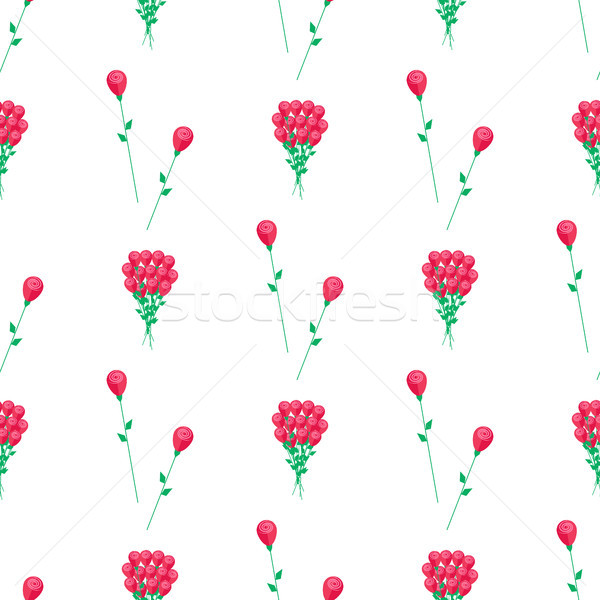 Foto d'archivio: Carta · da · imballaggio · design · fiori · rossi · vettore · texture