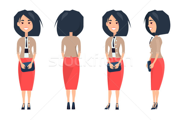Pretty Woman in Red Skirt and Beige Blouse Purse Stock photo © robuart
